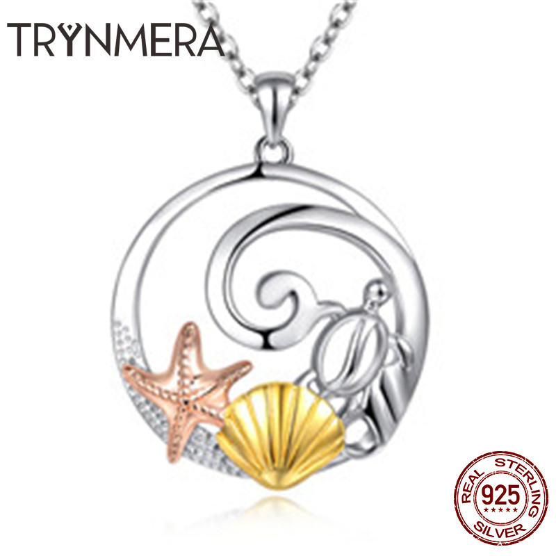 925 Sterling Silver Necklace Ocean World Starfish Shell Turtle Tortoise Pendant Necklaces for Women Sterling Silver Jewelry S925925 Sterling Silver Necklace Ocean World Starfish Shell Turtle Tortoise Pendant Necklaces for Women Sterling Silver Jewelry S925