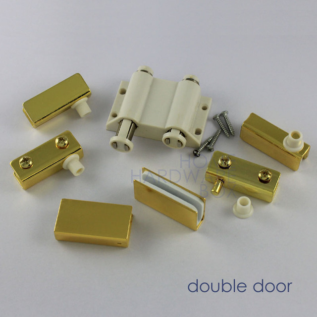 Double Glass Door Pivot Hinges Clamps With Strike Plate Golden Chrome 1 4 Thickness