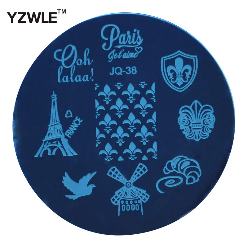 YZWLE 1 Pcs Stainless Steel Plate Image Stamp Stamping Plates DIY Manicure Template Nail Polish Tools (JQ-38)