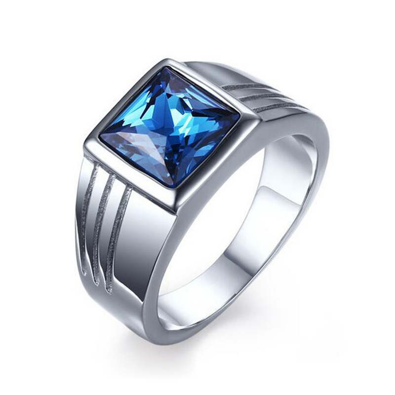 Мужское кольцо из нержавеющей стали, синее, красное кольцо с драгоценным камнем для мужчин, обручальное кольцо из титана AAA+ фианит - Цвет основного камня: Синий