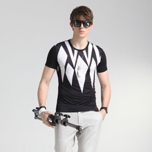 M-4XL Size summer Male Fashion Korea style  ice silk slim T-shirt  men's casual O neck Printed Floral  Tees tops clothing S109