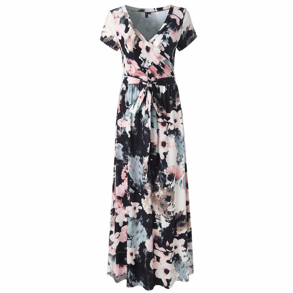 1b425f000d39 Summer Dress 2019 Sleeve Casual Women Sexy Short Sleeve V-Neck Flower Print  Evening Party