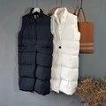 Casaco de Inverno outono Versão Coreana Das Senhoras Das Mulheres Casuais Colete de Algodão Sem Mangas Colete Jaqueta Colete de Algodão Longo Para Baixo Casaco Feminino