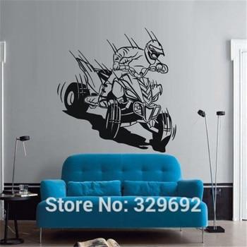 Calcomanías de pared para Quad Bike, cuadricóptero ATV, carrera, velocidad de motocicleta, Extrime, pegatinas de pared para juego para niños, decoración de pared para el hogar, mural artístico 292, envío gratis