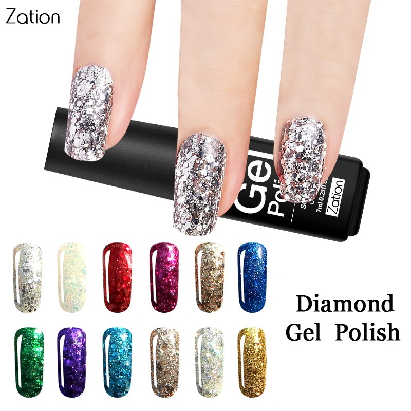Zation Colorful Sequins Decorations Diamond UV Gel Nail Polish Shine Shimmer Varnish Lacquer Soak Off Glitter Nail Art Color Gel