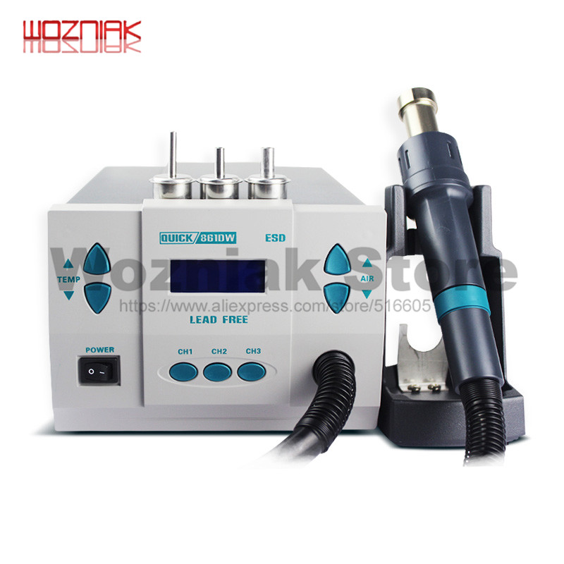 Quick 861DW lead free hot air gun soldering station Intelligent digital display 1000W rework station For