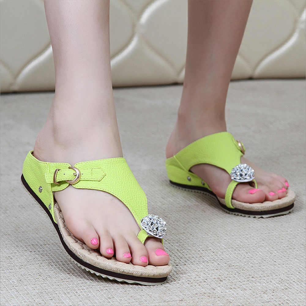 27fd1045a ... 2018 Summer Women Flip Flop Clip toe Gladiator Sandals Beach Shoes Diamond  Women Flat Heels Flip ...