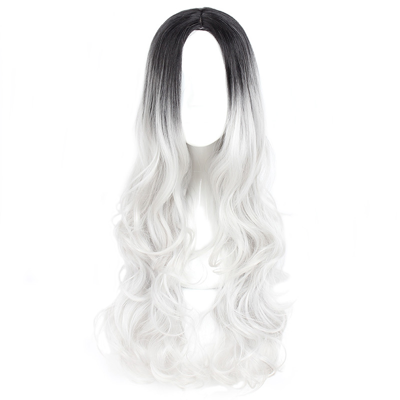 Mcoser 80cm Synthetic Long Wavy Mix Color Cosplay Party Wig 3 Colors 100% High Temperature Fiber Hair Wig-815 Fashionable Patterns Synthetic Wigs