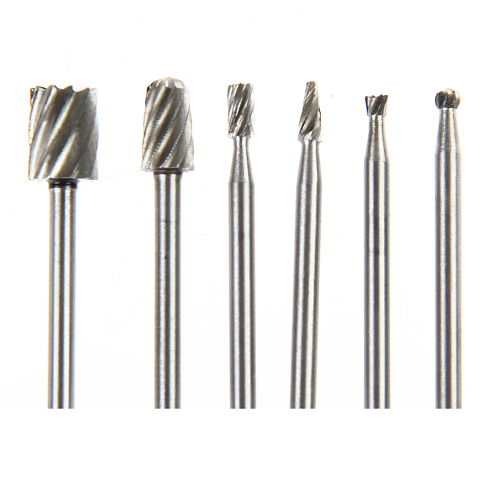 6pcs Rotary Tools HSS Milling Burrs Cutter Set Electric Grinding Polishing Head Engraving Cutter Router Bits for Dremel Wood 1pc white or green polishing paste wax polishing compounds for high lustre finishing on steels hard metals durale quality