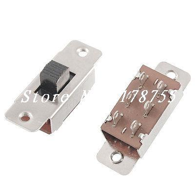 5 Pcs x 6 Solder Lug Pin 3 Position DPDT 2P2T PCB Panel Mount Mini Slide Switch 10pcs toggle switch 2 position 6 pins with fixed hole handle high 5mm dpdt 2p2t panel mount slide switch 125vac