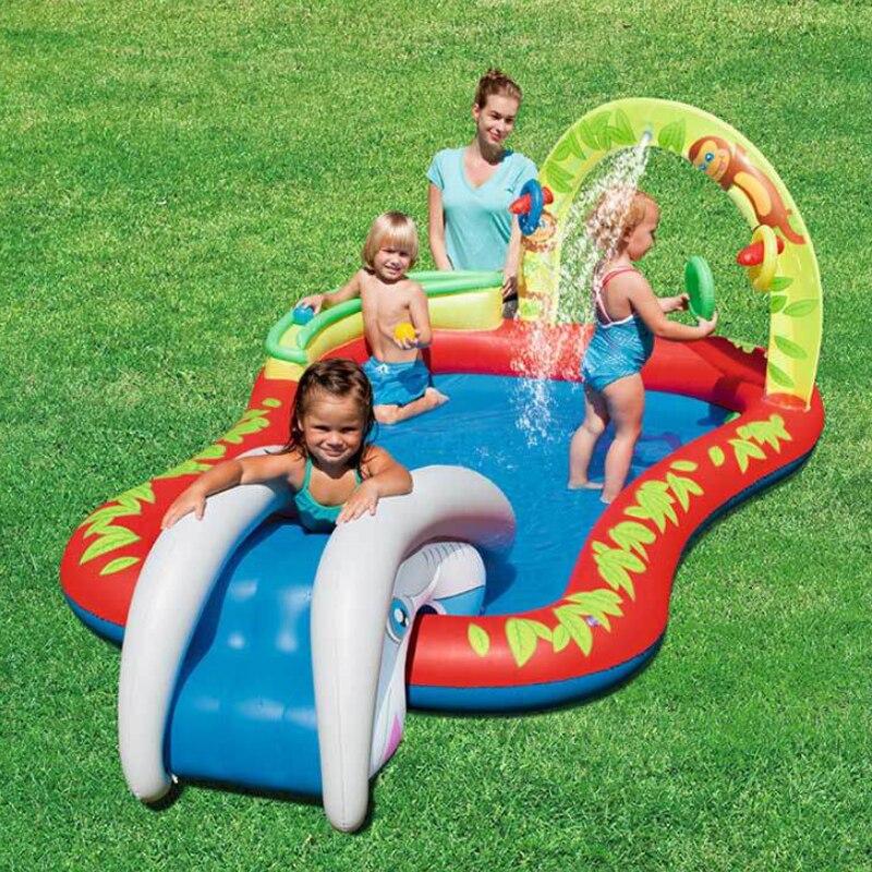 Piscina-piscine gonflable en plastique   Arcs glissants, avec jet d'eau, cadeau pour enfants