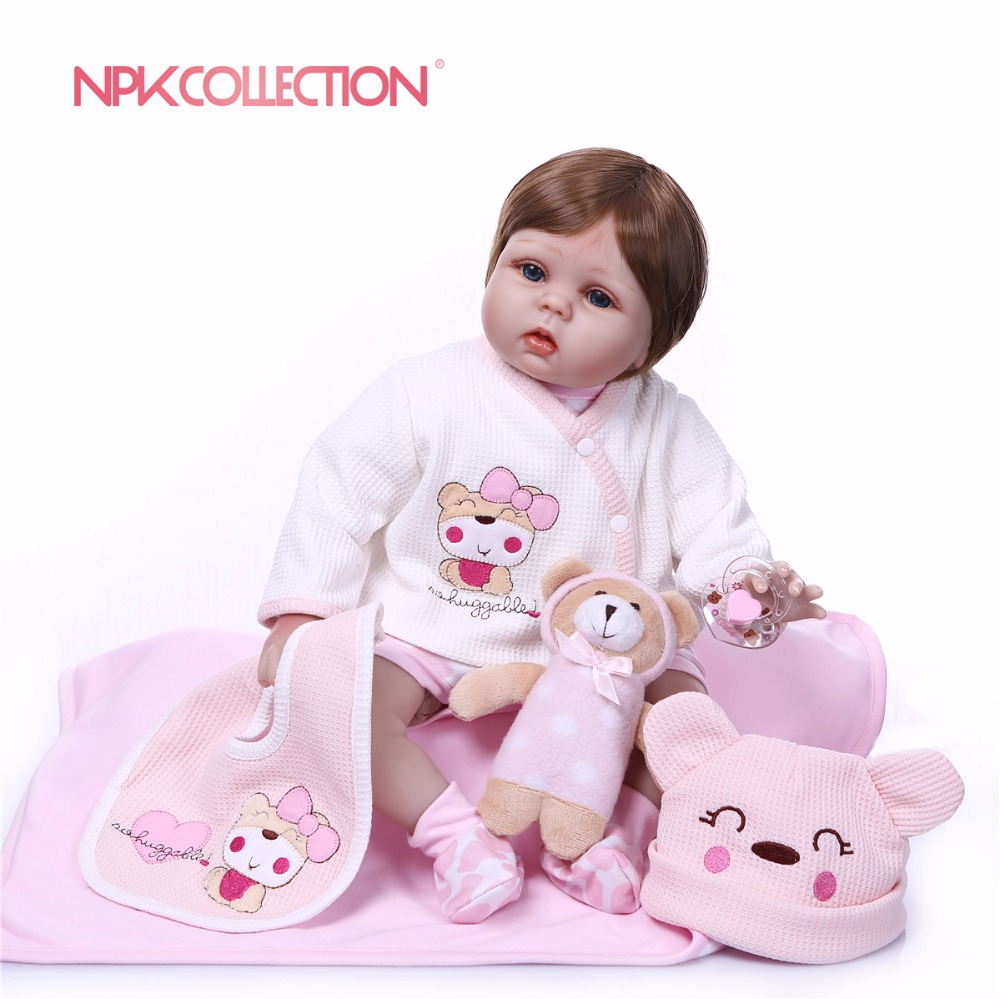 NPKCOLLECTION 55CM 2018 New Design Silicone Reborn Doll Handmade Baby Soft Toys For Bouquets Doll Reborn Girls Playmate Gift все цены