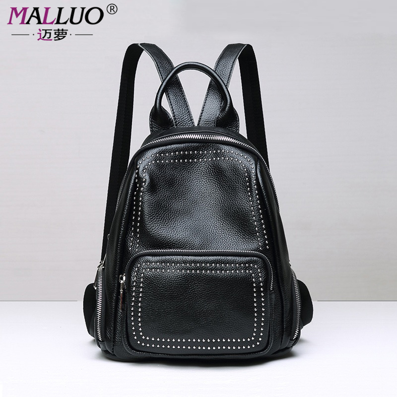 MALLUO Genuine Leather Backpacks High Quality Women Bags Preppy Style Shoulder Bag For College Student Travel