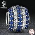 Fazer jóias náutico pavimentam luzes azul claro cz charme fit colar pulseira 925 grânulos de prata esterlina pandora original s141