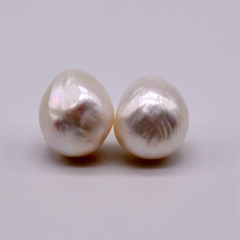 Women's simple earrings. White baroque natural modeling pearl. 925 sterling silver earrings. Women's pearl earrings