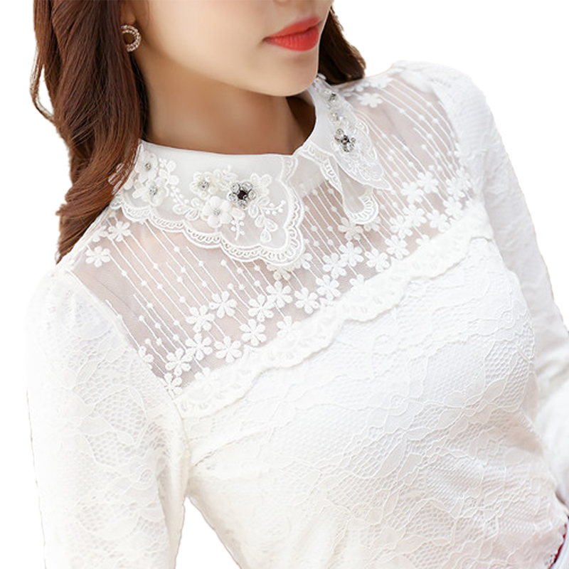 New Spring Autumn Women Blouse Shirt Black White Casual Long Sleeve Lace Shirts Hollow Tops For Woman Plus Size 3XL