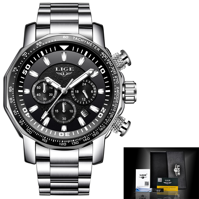 2018 LIGE New Fashion Mens Watches Luxury Brand Business Quartz Watch Men Sport Waterproof Big Dial