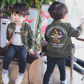 Boys Girls Bomber Jackets Children Soldier Pilot Coats Embroidery  Spring Kids Outerwear Autumn Army Green Cardigan