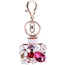 Rhinestone flower perfume bottle keychain