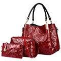 3 Pçs/sets Composite Bag Mulheres Bolsas Mensageiro Sacos de Couro PU Projeto Ladies Bolsa Bolsa + Bolsa de Ombro + Bolsa XN21