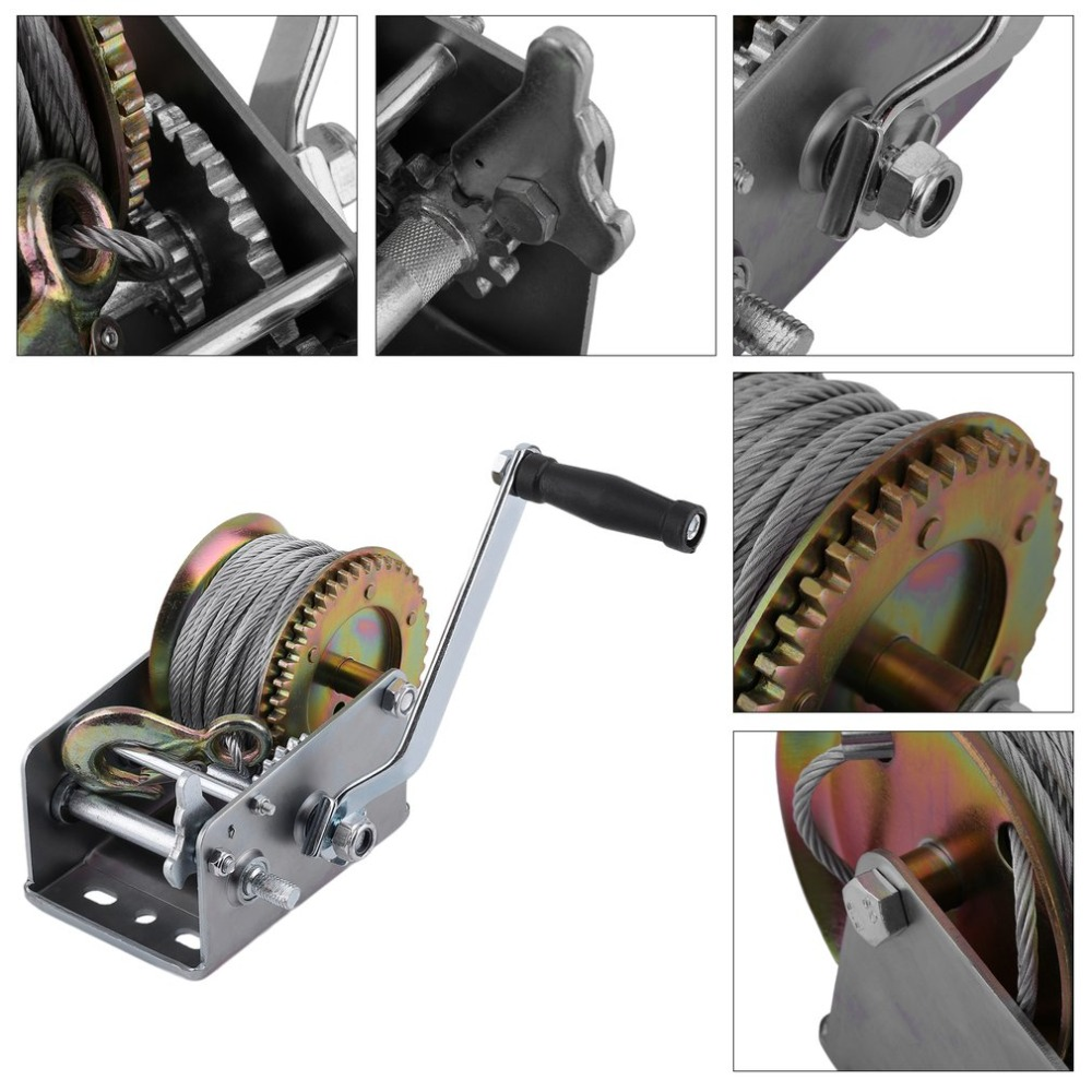 1pc Hand Winch 2500lbs Boat Trailer For Caravans 20m Cable Length Marine Pull Heavy Items Lifting Sling Hand Tool