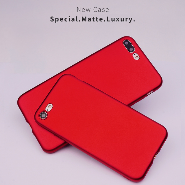 Red Colour Matte Surface Soft Plastic Mobile Phone Cases For Apple