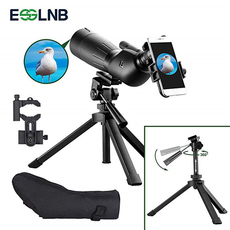 20 60x60 Spotting Scope For Hunting IPX7 Waterproof Monocular Telescope FMC Optical Lens With Adjustable Tripod