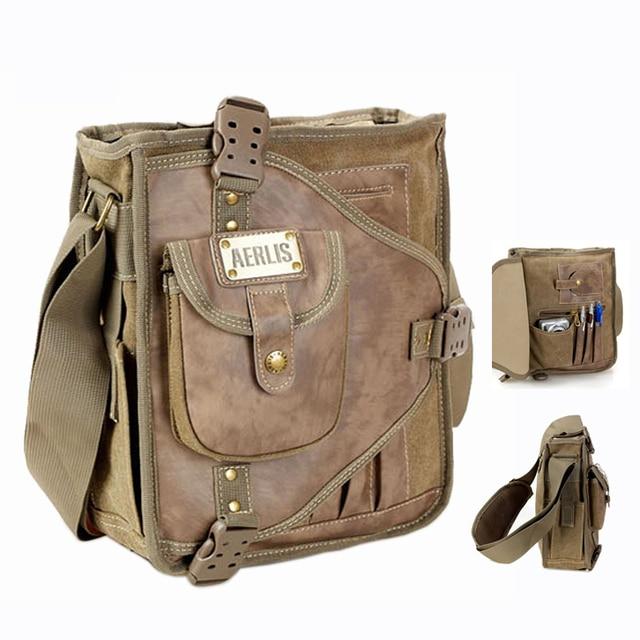 Designer pocket college student shoulder book bags bolsas Canvas and leather  messenger bag for school boys