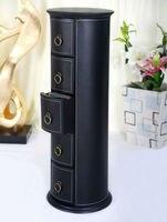Round 5 Drawer Leather Floor CD DVD Cabinet Sundries Container Storage Box Case Organizer Holder Black
