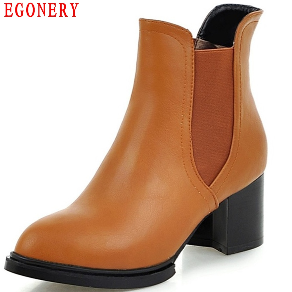 EGONERY High Square Heels Faux Leather Pointed Toe Slip On Ankle Chelsea Boots Women Spring Autumn Shoes egonery new sweet lady round toe faux leather slip air spring dress women pumps heels shoes top size us 12