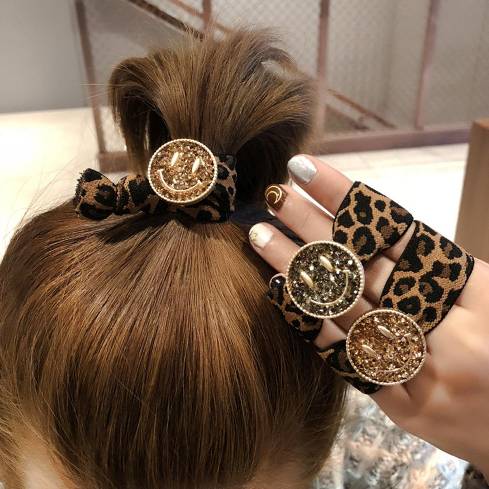 Women Scrunchie Hair-Band Hair-Accessories Rhinestone Smile-Face Elastic Leopard-Print