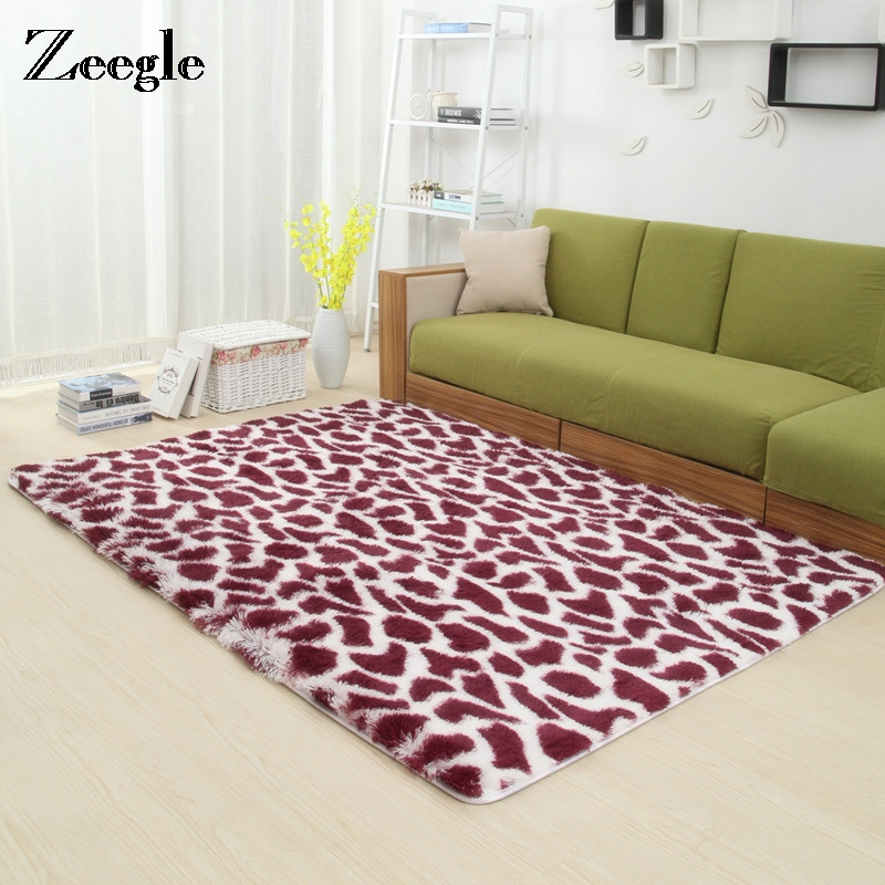 Zeegle Thick Shaggy Large Size Carpets For Living Room Anti-slip Bedroom Area Rug Home Decor Floor Mats Bedside Mats image
