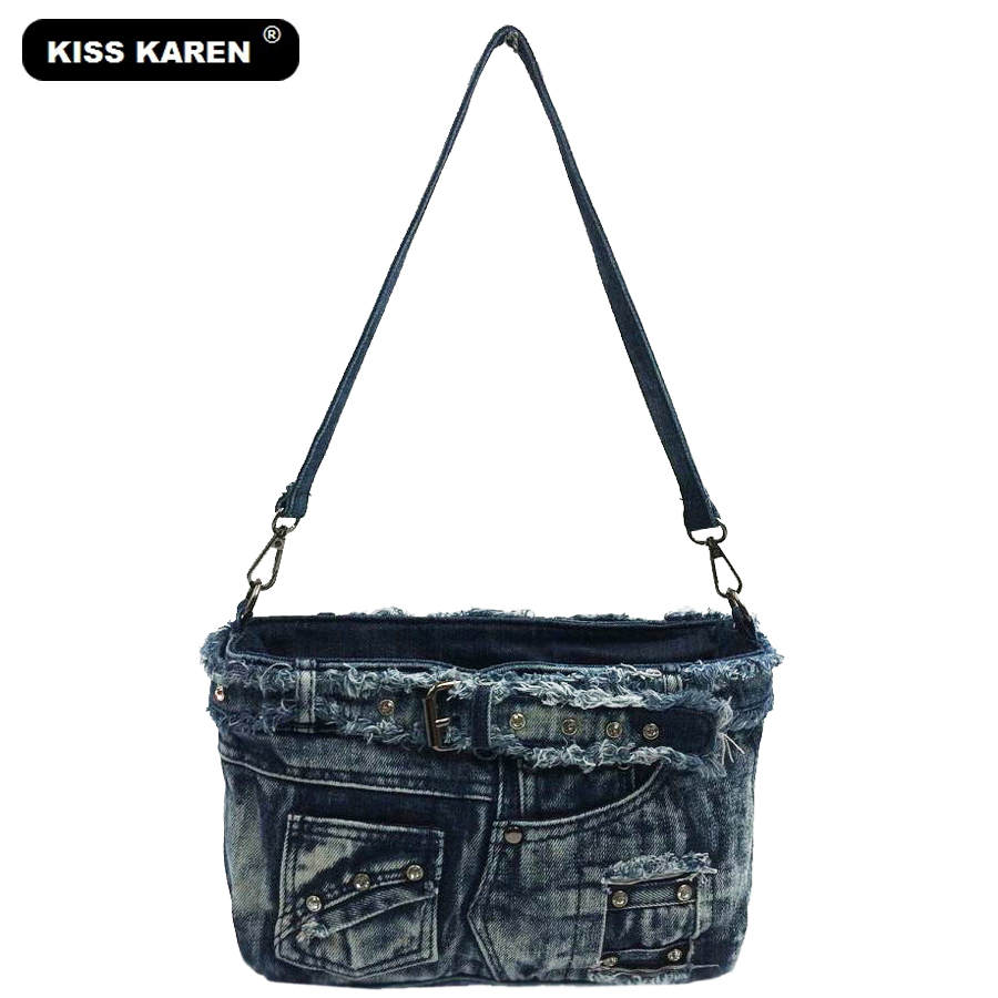 все цены на KISS KAREN Fashion Diamond Studs Denim Women Bag Women's Shoulder Bags Women Messenger Bags Crossbody Bag Jeans Lady Flap