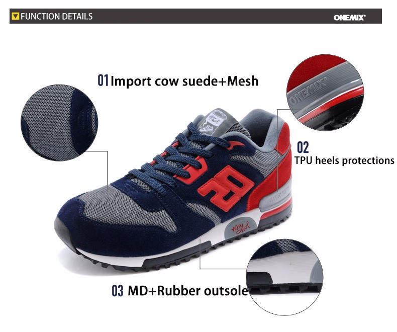 ONEMIX Men Retro 750 Running Shoes Rubber Leather Sport Women Trainers Sneakers Breathable Female Walking Jogging Shoes EU 36-44 3