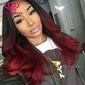 High Quality Ombre lace front wig burgundy ombre glueless body wave heat resistant synthetic lace front women wig