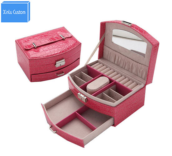 Multifunctional Leather Travel Suitcase for Watch/Jewelry Comestic Case Fashion Women Gift Box Organizer DIY Home Storage Drawer