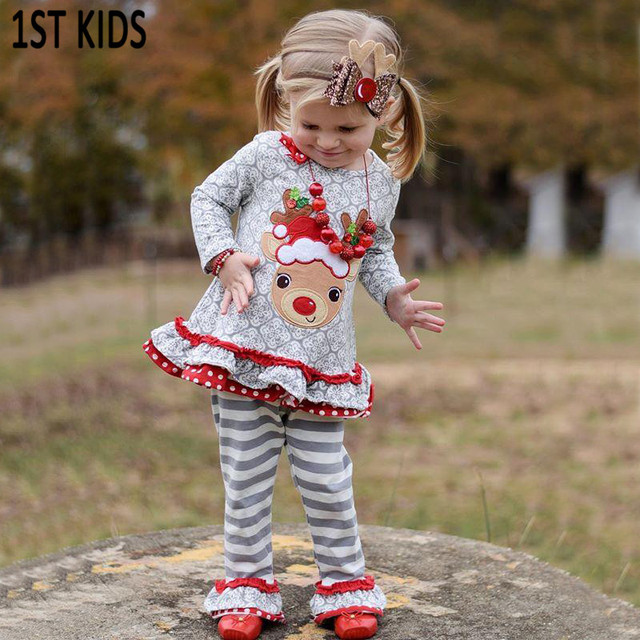fall/winter boutique Christmas Eve hightmare deer dress cotton clothes kids outfits baby girls gray accessories pants DB469