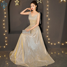 Ameision Sexy Satin Evening Dress 2019 Long A line Sleeveless Prom Dresses Party Gown Robe De Soiree