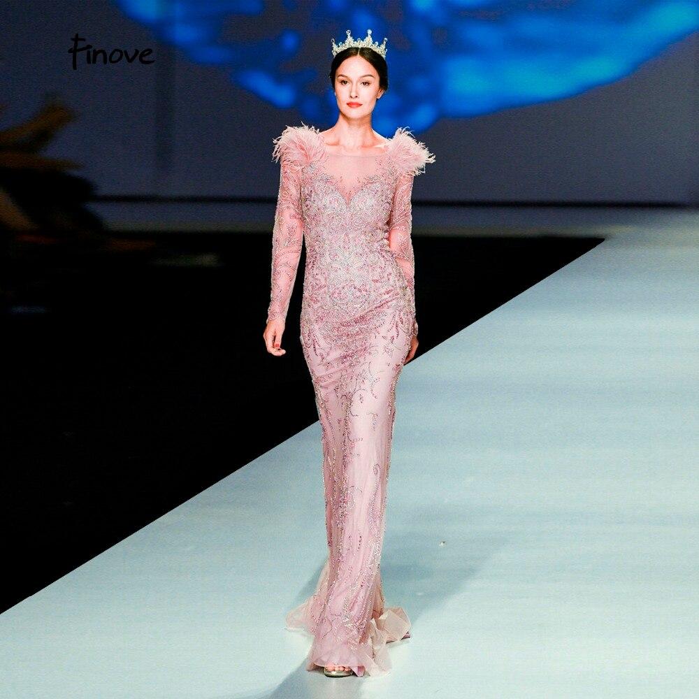 Finove Evening Dress 2019 Elegant Golden Rose Mermaid Styles Beading Feathers Full Sleeves Long Floor Length