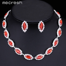 Red Crystal Rhinestone African Jewelry Sets i