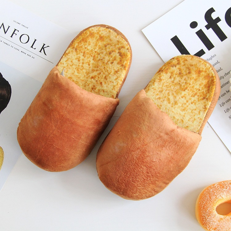 35-43 French Bread Cake cosplay Cartoon Couple Lovers Slipper Furnishing Cotton Slipper Unisex Men Women creative toy gift