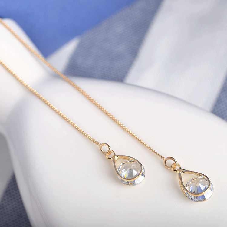 018 Fashion Warna Perak Jaringan Zircon Rumbai Drop Asimetris Anting-Anting Telinga Kawat Panjang Panas Perhiasan Kristal Menawan Anting-Anting
