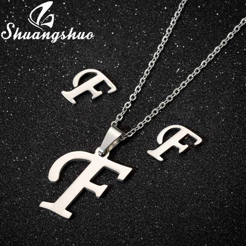 Shuangshuo Halskette Ohrringe Schmuck Sets Für Frauen Edelstahl Brief Anhänger Halsketten Stud Ohrringe Braut Schmuck