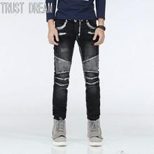 TRUST DREAM European Style Fashion Men Slim Painted Washed Jeans Stretch Denim Long Trousers Man Moto Biker Jeans