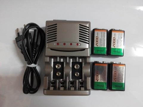 Carregador de Bateria Recarregável + 1 Alta Qualidade Pces 9v Nimh Bateria Universal aa Aaa 4 2000mah