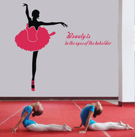 Large Size 155x145cm Beauty is in the eyes Ballet Dancer Vinyl Wall Sticker Dance Room Wall Decals Decoration