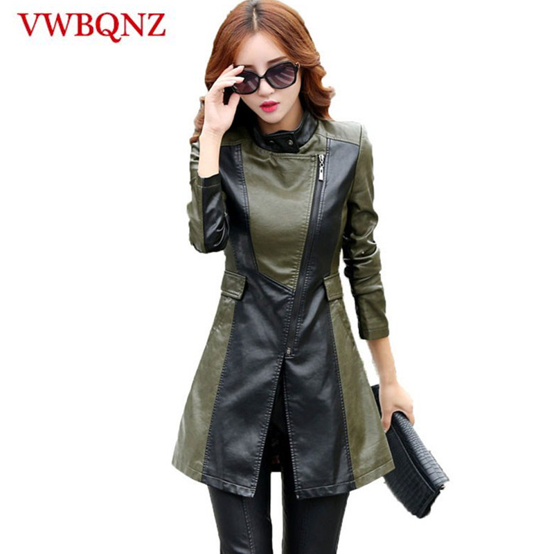 High-end Women PU   leather   Jacket Windbreaker Coat Slim Temperament Long Overcoat Coat Large size 5XL Female Faux   Leather   Jacket