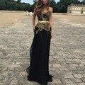 Negro Y Oro Apliques de Encaje Vestido de Noche Largo Sweetheart Cinturón Peplum Baile Vestidos Largos Formal de Los Vestidos Vestido de Fiesta 2017