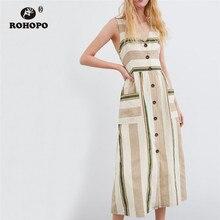 ROHOPO Sleeveless Women Striped Midi Dress Zipper Fly Back Bow Cute Pocket High Waist Dreess British Tunic Cotton Girl Dresses