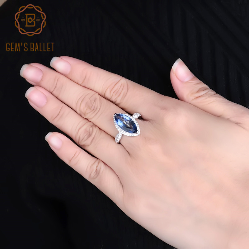 GEM'S BALLET 4.11Ct Marquise Natural Iolite Blue Mystic Quartz Solid 100% 925 Sterling Silver Fine Ring For Women Jewelry Gift